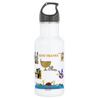 THANKSGIVUKKAH GIVE THANKS  FOR HANUKKAH STAINLESS STEEL WATER BOTTLE