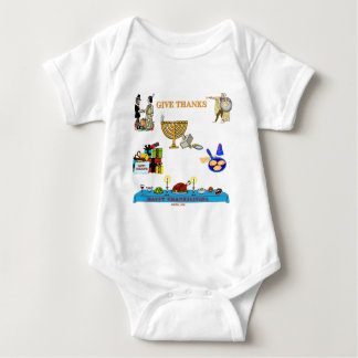 THANKSGIVUKKAH GIVE THANKS GIFTS  FOR HANUKKAH BABY BODYSUIT