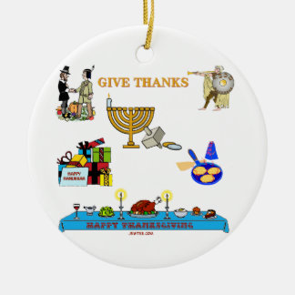 THANKSGIVUKKAH GIVE THANKS GIFTS  FOR HANUKKAH CERAMIC ORNAMENT