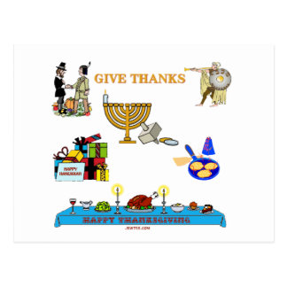 THANKSGIVUKKAH GIVE THANKS GIFTS  FOR HANUKKAH POSTCARD