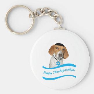 Thanksgivukkah Keychain Funny Hound Dog w Yamaka