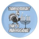 Thanksgivukkah Mashugana Turkey & Menorah Plates