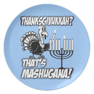 Thanksgivukkah Mashugana Turquía y placas de Menor Plato De Comida
