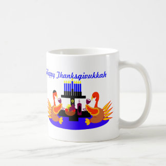 Thanksgivukkah Mug Funny Toasting Turkeys