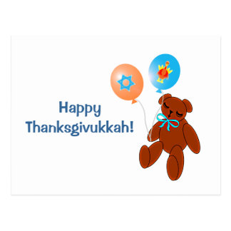 Thanksgivukkah Postcard Teddy Bear with Balloons