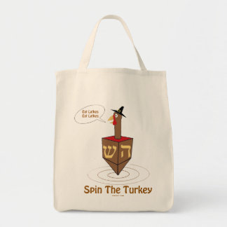THANKSGIVUKKAH SPIN THE TURKEY HANUKKAH GIFTS GROCERY TOTE BAG