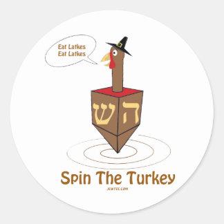 THANKSGIVUKKAH SPIN THE TURKEY HANUKKAH GIFTS CLASSIC ROUND STICKER