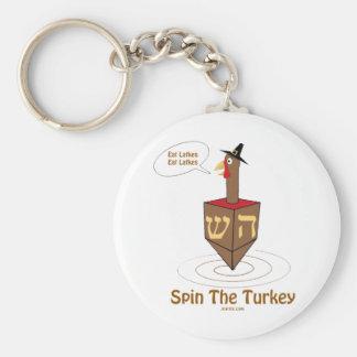 THANKSGIVUKKAH SPIN THE TURKEY HANUKKAH GIFTS BASIC ROUND BUTTON KEYCHAIN