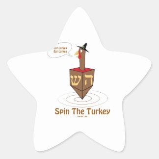 THANKSGIVUKKAH SPIN THE TURKEY HANUKKAH GIFTS STAR STICKER