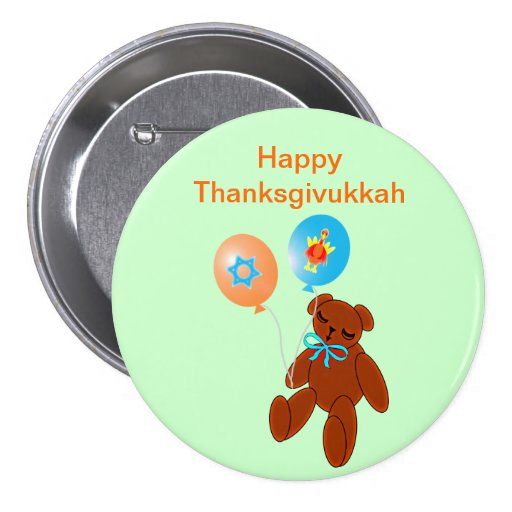 Thanksgivukkah Teddy Bear with Balloons Button