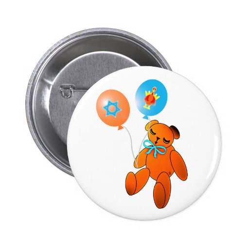 Thanksgivukkah Teddy Bear with Balloons Pins