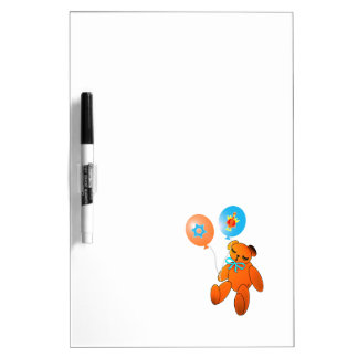 Thanksgivukkah Teddy Bear with Balloons Dry-Erase Board