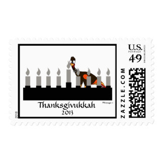Thanksgivukkah Turkey and Menorah Postage Stamp