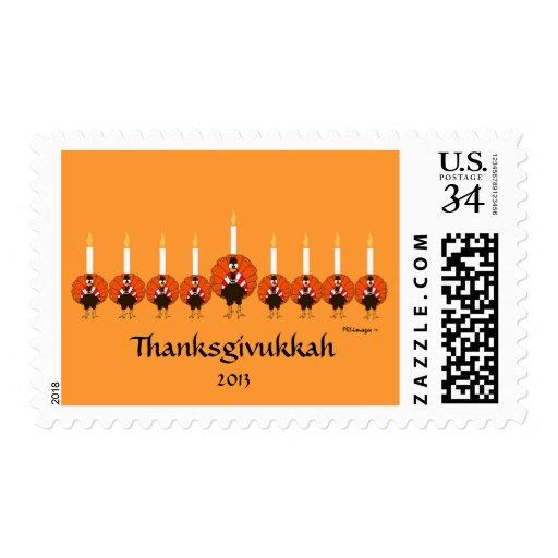 Thanksgivukkah Turkey Menorah Postage Stamp
