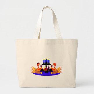 Thanksgivukkah Wine Toasting Turkeys Jumbo Tote Bag