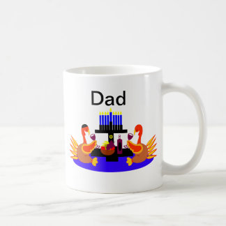 Thanksgivukkah Wine Toasting Turkeys Dad Mug
