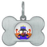 Thanksgivukkah Wine Toasting Turkeys Pet Name Tag