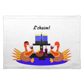 Thanksgivukkah Wine Toasting Turkeys Placemat
