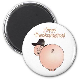 """Thankspigging"" Funny Cartoon Pig Thanksgiving 2 Inch Round Magnet"