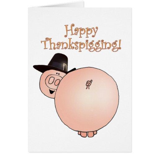 """""""Thankspigging"""" Funny Cartoon Pig Thanksgiving Cards"""