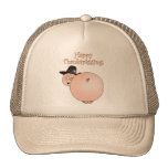 """Thankspigging"" Funny Cartoon Pig Thanksgiving Mesh Hats"