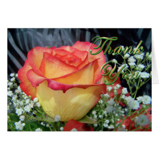 ThankYou bicolor rose & baby breath Greeting Cards