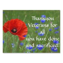 Thankyou vets Poppy Lawn Sign