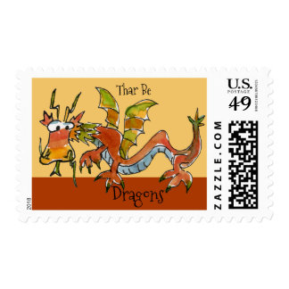 Thar Be Dragons Postage
