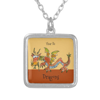 Thar Be Dragons Silver Plated Necklace