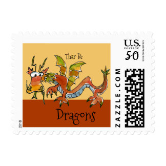 Thar Be Dragons Sml Postage