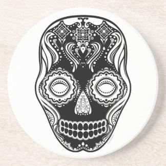 That Girl Calavera Dia de los Muertos Black Drink Coaster