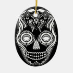 That Girl Calavera Dia de los Muertos Black Double-Sided Oval Ceramic Christmas Ornament