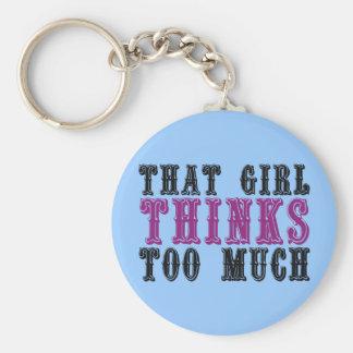 That Girl Thinks Too Much Basic Round Button Keychain