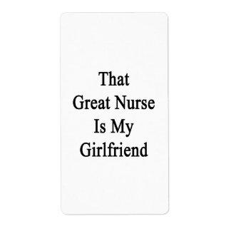 That Great Nurse Is My Girlfriend Shipping Label