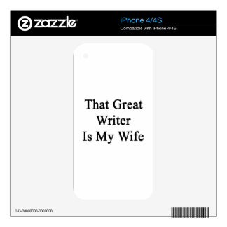 That Great Writer Is My Wife Decal For iPhone 4