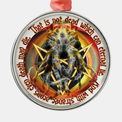 That is not dead which can eternal lie round metal christmas ornament