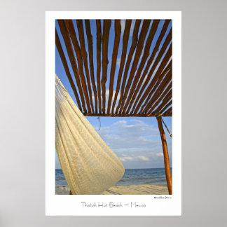 Thatch Hut Beach ~ Mexico ~ Travel Poster