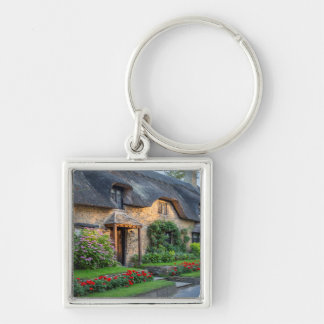 Thatch roof cottage in England Silver-Colored Square Keychain