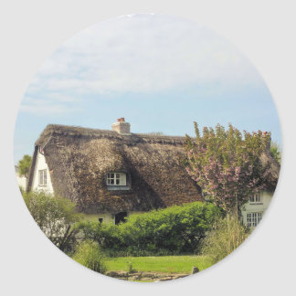 Thatched cottage Cornwall UK Classic Round Sticker