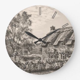 Thatched Cottage (Vintage B&W) wall clock