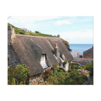 Thatched Cottages at Cadgwith Cornwall Photograph Canvas Print