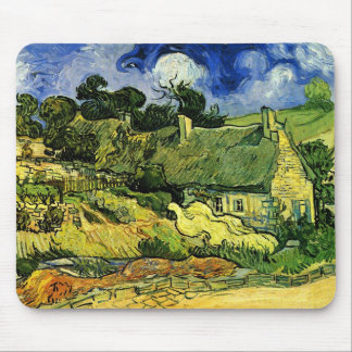 Thatched Cottages at Cordeville by van Gogh Mousepads