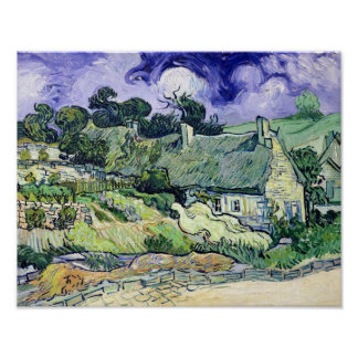 Thatched cottages at Cordeville Poster