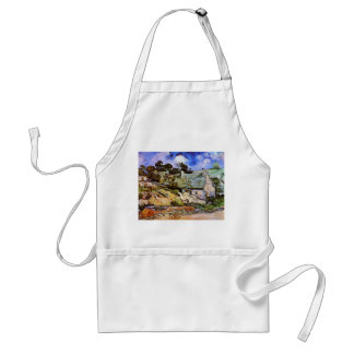 Thatched Cottages at Cordeville, Vincent Van Gogh Adult Apron