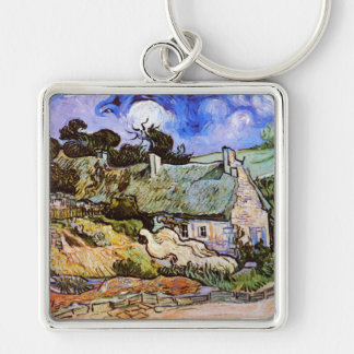 Thatched Cottages at Cordeville, Vincent Van Gogh Keychains