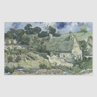 Thatched Cottages at Cordeville Vincent Van Gogh Rectangle Stickers