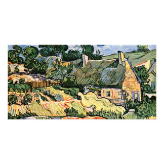 Thatched Cottages At Cordevilledeutsch: Customized Photo Card