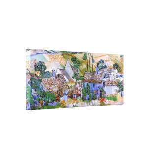 Thatched Cottages by a Hill by Vincent van Gogh Canvas Print
