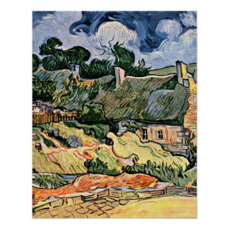 Thatched houses in Cordeville by Vincent van Gogh Poster