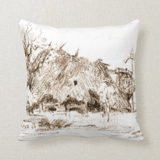 Thatched Hut 1835 Throw Pillow